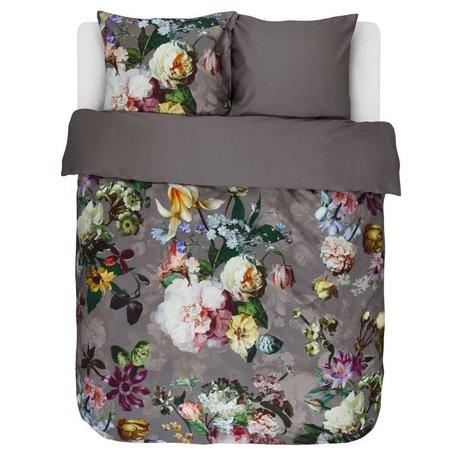 ESSENZA Linge de lit Fleur satin de coton marron taupe 200x220 + 2 / 60x70cm