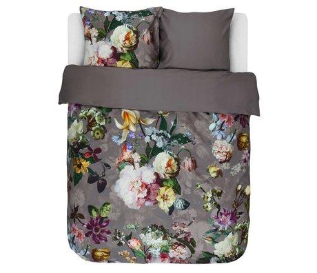 ESSENZA Copripiumino Fleur grigio talpa in cotone marrone 260x220 + 2 / 60x70cm