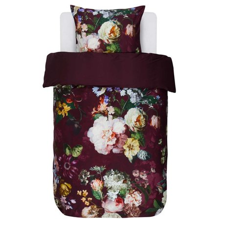 ESSENZA Funda nórdica Fleur Burgundy púrpura algodón satinado 140x220 + 60x70cm