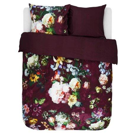 ESSENZA Duvet cover Fleur Burgundy purple cotton satin 200x220 + 2 / 60x70cm