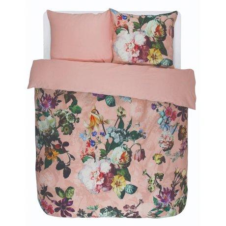 ESSENZA Funda nórdica fleur rosa algodón satinado 240x220 + 2 / 60x70cm