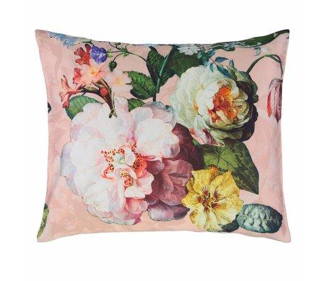 ESSENZA Taie d'oreiller fleur en satin de coton rose 60x70cm