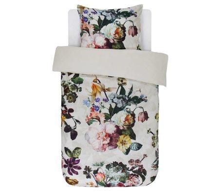 ESSENZA Bettwäsche Fleur Ecru weißer Baumwollsatin 140x220+60x70cm