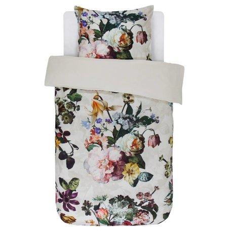 ESSENZA Linge de lit Fleur Ecru satin de coton blanc 140x220 + 60x70cm