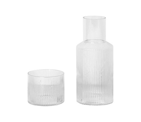 Ferm Living Carafe set Ripple transparent glass Ø7,6x17,9cm
