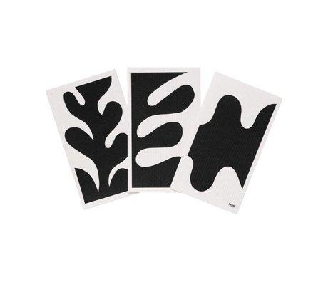 Ferm Living Torchon Feuille noir blanc textile lot de 3 15x25,5cm