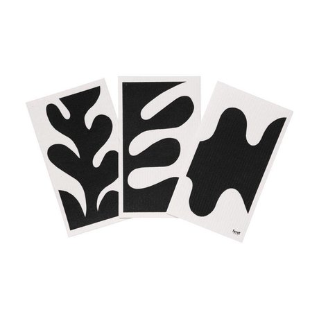Ferm Living Dishcloth Leaf black white textile set of 3 15x25,5cm