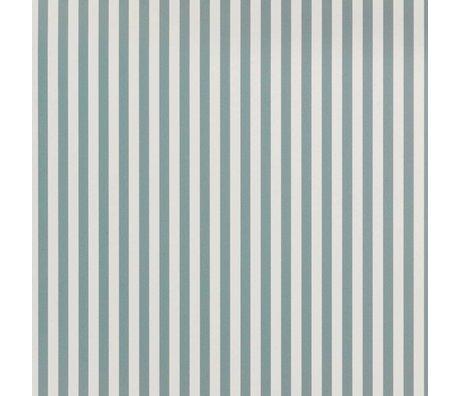 Ferm Living Papier peint Thin Lines poussiéreux bleu blanc cassé papier 53x1000cm