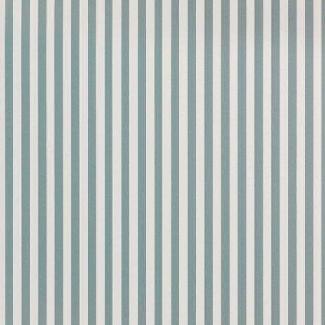 Ferm Living Tapete Thin Lines staubiges blaues cremefarbenes Papier 53x1000cm