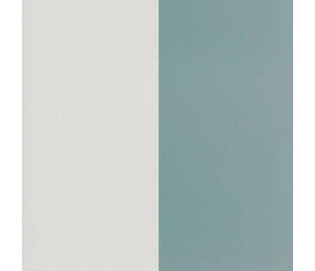 Ferm Living Papier peint Lignes épaisses poussiéreux bleu papier blanc cassé 53x1000cm