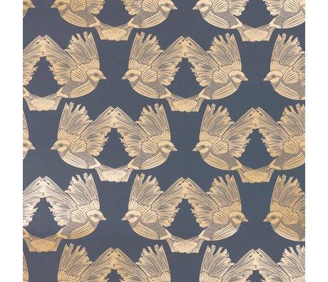 Ferm Living Papier peint oiseaux bleu foncé papier d'or 53x1000cm