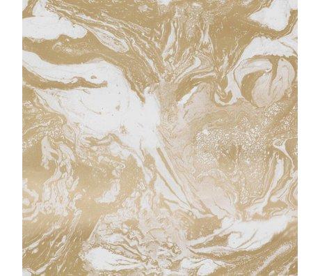 Ferm Living Tapete Marmorierendes Goldpapier 53x1000cm