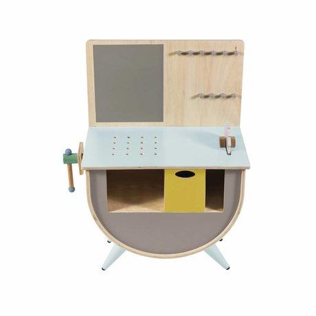 Sebra Banco da lavoro in legno grigio 58x38x81,5cm