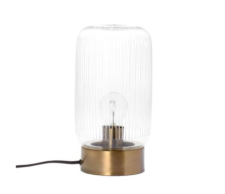 Riverdale Tischlampe Streifen Messing Goldglas Metall Ø15x28cm