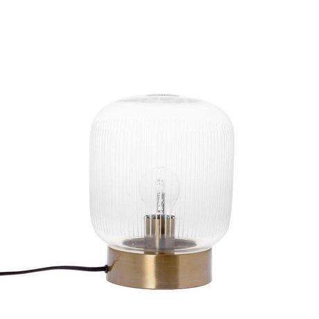 Riverdale Tischlampe Streifen Messing Goldglas Metall Ø20x25cm