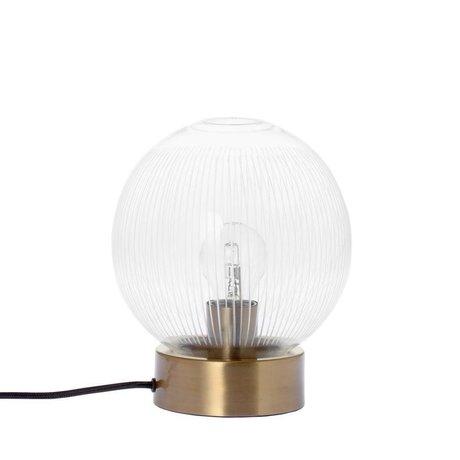 Riverdale Tischlampe Streifen Messing Goldglas Metall Ø20x23,5cm
