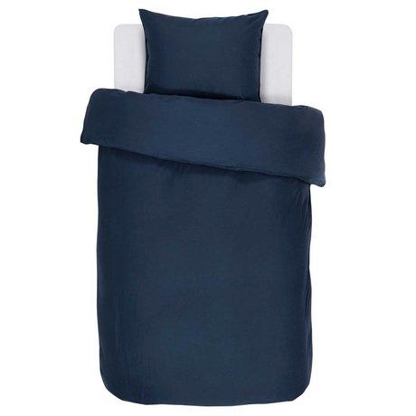ESSENZA Duvet Cover Minte navy blue cotton sateen 140x220 + 60x70cm