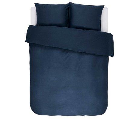 ESSENZA Housse de couette Minte en coton satiné bleu marine 200x220 + 2 / 60x70cm