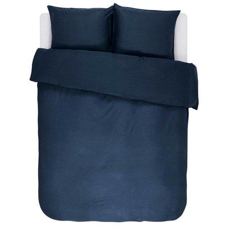ESSENZA Funda nórdica Minte Satén de algodón azul marino 200x220 + 2 / 60x70cm