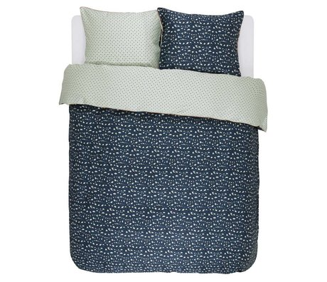 ESSENZA Bed linen Bory navy blue cotton sateen 240x220 + 2 / 60x70cm
