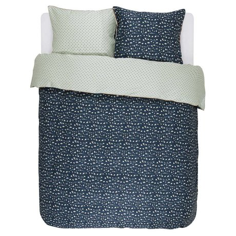 ESSENZA Linge de lit satin de coton bleu marine Bory 240x220 + 2 / 60x70cm