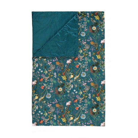 ESSENZA Karo Xess petrol blau Samt Polyester 135x170cm