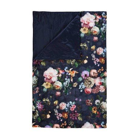 ESSENZA Sommier Fleur nuit bleu velours bleu polyester 100x240cm