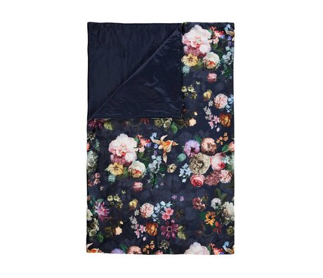 ESSENZA Plaid fleur nat blå blå sammet polyester 135x170cm