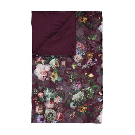 ESSENZA Checkered fleur burgundy purple velvet polyester 135x170cm