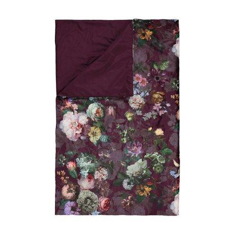 ESSENZA Fleur damier bordeaux velours violet polyester 135x170cm