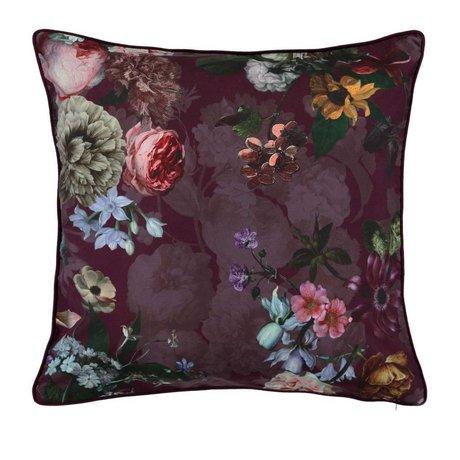 ESSENZA Pillow Fleur Burgundy purple velvet polyester 50x50cm