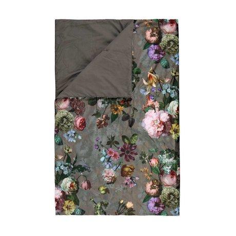 ESSENZA Steppdecke Fleur Taupe brauner Samt Polyester 180x265cm