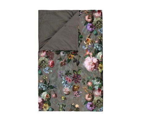 ESSENZA Sengesko fleur taupe brun sammet polyester 100x240cm