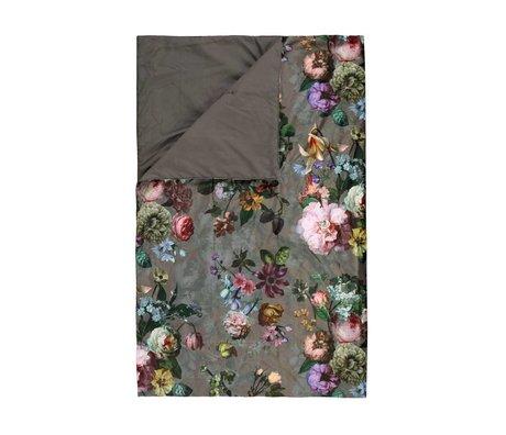 ESSENZA Velours chèque marron fleur taupe polyester 135x170cm