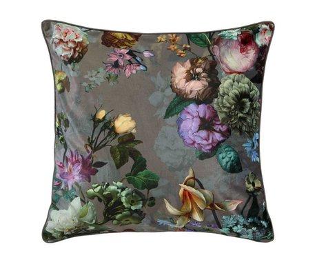 ESSENZA Pude Fleur Taupe brun sammet polyester 50x50cm