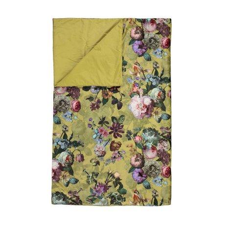ESSENZA Couette Fleur velours jaune doré polyester 180x265cm