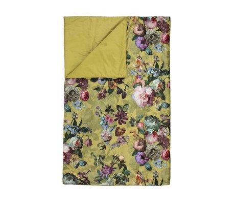 ESSENZA Couette Fleur velours jaune doré polyester 220x265cm