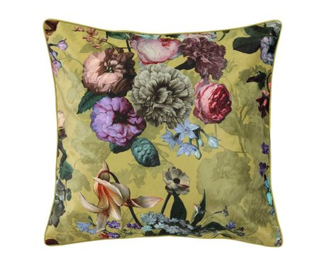ESSENZA Pillow Fleur Golden yellow velvet polyester 50x50cm
