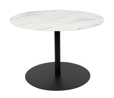 Zuiver Table d'appoint Snow Round Marble Black Metal M Ø60x40cm