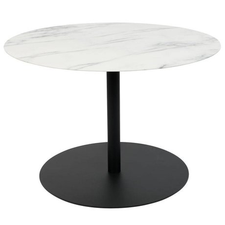 Zuiver Side Table Snow Round Marble Black Metal M Ø60x40cm