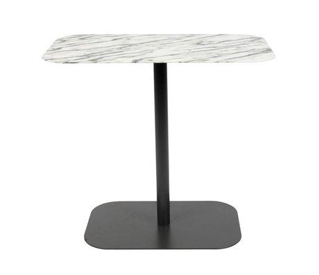 Zuiver Table d'appoint neige rectangle marbre métal noir 50x30x42,5cm