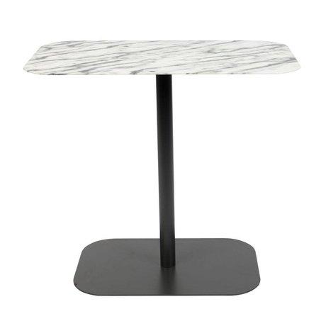 Zuiver Mesilla auxiliar nieve rectangular marmol metal negro 50x30x42,5cm