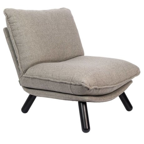 Zuiver Armchair Lazy Sack light gray textile wood 75x94x81cm