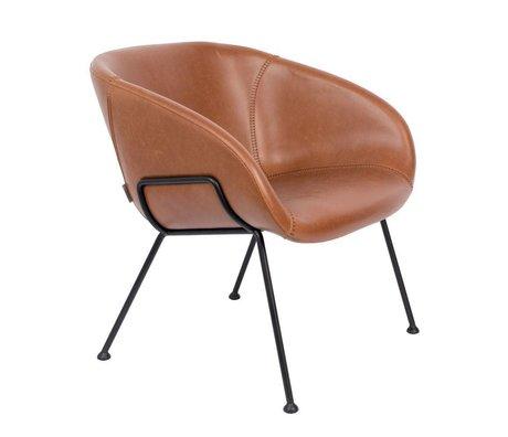 Zuiver Lænestol Feston brun sort læderstål 70,5x65,5x72cm