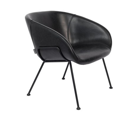 Zuiver Armchair Feston black synthetic leather steel 70,5x65,5x72cm