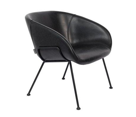 Zuiver Fauteuil Feston noir en cuir synthétique acier 70,5x65,5x72cm