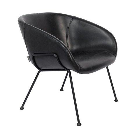 Zuiver Sillón Feston cuero sintético negro acero 70,5x65,5x72cm
