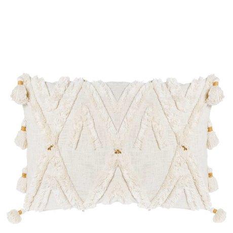Riverdale Cojín Ibiza crema blanco algodón 50x70cm
