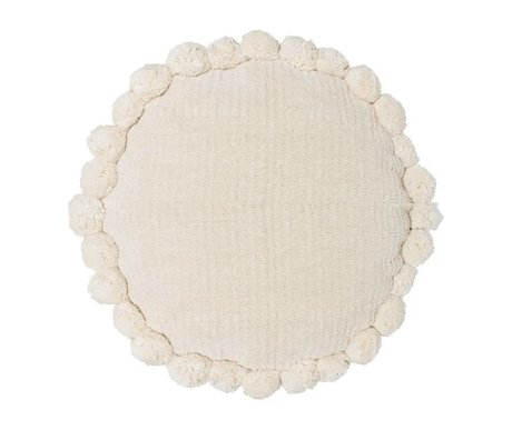 Riverdale Coussin Ibiza rond en coton blanc crème ø50cm