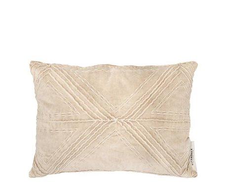 Riverdale Coussin lily beige coton velours marron 35x50cm